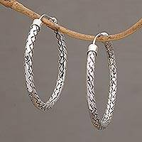Sterling silver hoop earrings, 'Celuk Circles' (1.3 inch) - Sterling Silver Hoop Earrings with Woven Design (1.3 Inch)