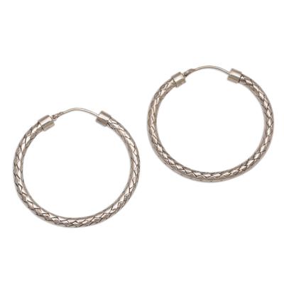 Sterling silver hoop earrings, 'Celuk Circles' (1.3 inch) - Sterling Silver Hoop Earrings with Woven Design (1.3 Inch)