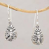 Sterling silver dangle earrings, 'Dragonfly's Rest' - Dainty Egg Shaped Silver Earrings with Dragonflies