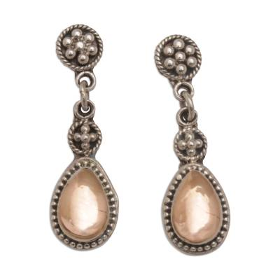 Gold accented sterling silver dangle earrings, 'Golden Surprise' - 18k Gold Accent Sterling Silver Dangle Earrings from Bali