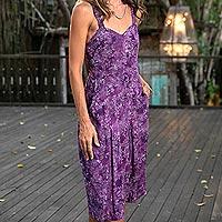 Rayon batik sundress, 'Lavish Garden' - Plum Floral Batik Rayon Sundress Handmade in Bali