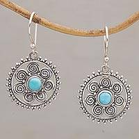 Sterling silver dangle earrings, 'Birth of the Sun' - Sterling Silver Dangle Sun Earrings Reconstituted Turquoise