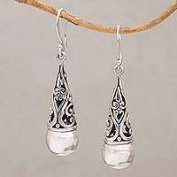 Sterling silver dangle earrings, 'Rain Droplet' - Sterling Silver Engraved Balinese Earrings