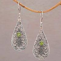 Peridot dangle earrings, 'Jawan Crest' - Peridot and Sterling Silver Balinese Style Earrings