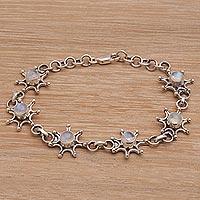 Rainbow moonstone link bracelet,