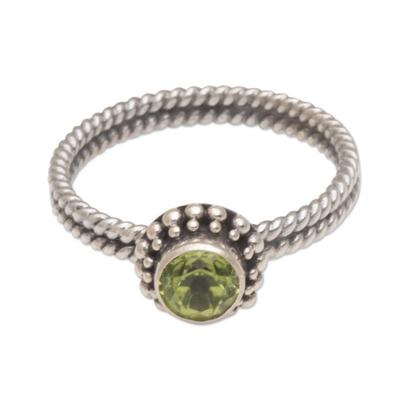Handmade Peridot and Sterling Silver Single Stone Ring