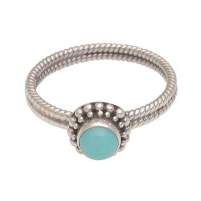 Sterling silver single stone ring, 'Touch of Simplicity' - Composite Turquoise and Sterling Silver Single Stone Ring