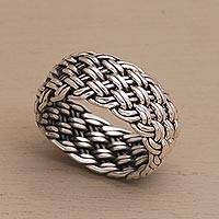 Sterling silver band ring, 'Well Woven' - Unisex Style Woven Sterling Silver Ring