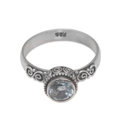 Blue topaz solitaire ring, 'Spiral Crown' - Blue Topaz and Sterling Silver Solitaire Ring from Bali