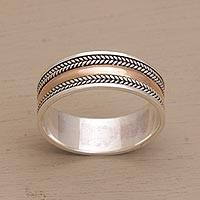 Gold accented sterling silver band ring, 'Way of Gold'