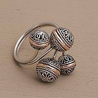 Gold accent sterling silver wrap ring, 'Ornate Ornaments' - Sterling Silver Scrollwork with Gold Accent Wrap Ring