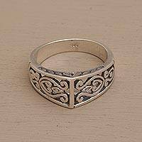 Sterling silver band ring, 'Celuk' - Hand Crafted Balinese Sterling Silver Band Ring