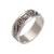 Sterling silver band ring, 'Punctuation Marks' - Sterling Silver Band Ring with Dot and Wire Motifs (image 2a) thumbail