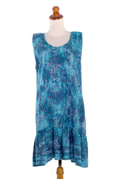 Batik rayon shift dress, 'Turquoise Glyphs' - Sleeveless Rayon Batik Shift Dress in Turquoise Print