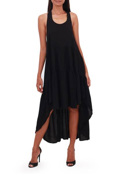 Hi-low rayon sundress, 'Black Beauty' - Racer-Back Long Rayon Hi-Low Sundress from Bali