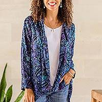 Batik rayon kimono jacket, 'Batik Garden' - Black and Royal Blue Floral Batik Long Kimono Jacket