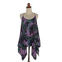 Rayon batik halter top, 'Electric Jungle' - Batik Rayon Halter Top in Purple and Light Green