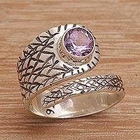 Amethyst wrap ring, 'Coiled Serpent' - Women's Amethyst and Sterling Silver Wrap Ring