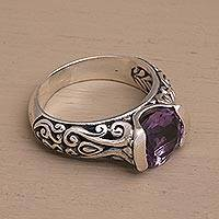 Amethyst single-stone ring, 'Vine Embrace' - Two Carat Amethyst and Sterling Silver Ring