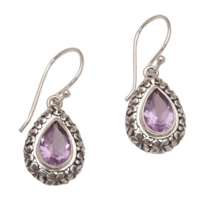 Amethyst dangle earrings, 'Jepun Lilac' - Frangipani Flower Dangle Earrings with Amethyst Gems