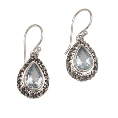 Frangipani Flower Dangle Earrings with Blue Topaz Gems