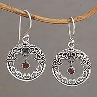 Garnet dangle earrings, 'Uluwatu Moon' - Ornate Balinese Earrings in Sterling Silver and Garnet