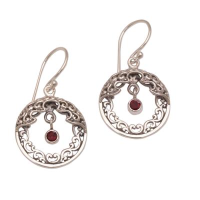 Ornate Balinese Earrings in Sterling Silver and Garnet