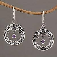Amethyst dangle earrings, 'Uluwatu Moon' - Ornate Sterling Silver Balinese Earrings with Amethyst