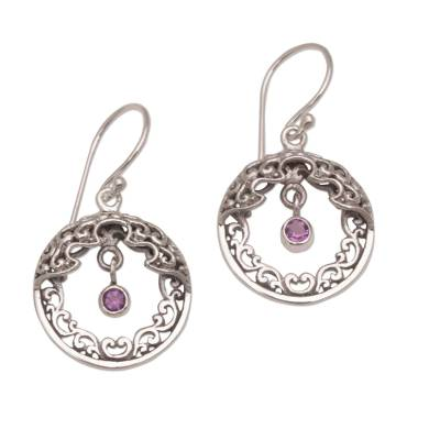 Amethyst dangle earrings, 'Uluwatu Moon' - Ornate Sterling Silver Balinese Earrings with Amethyst