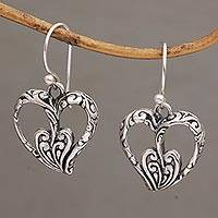 Sterling silver dangle earrings, 'Enchanting Hearts' - Heart Shaped Sterling Silver Dangle Earrings from Bali