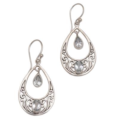 Blue topaz dangle earrings, 'Sukawati Treasure' - 1.5 Carat Blue Topaz and Sterling Silver Earrings