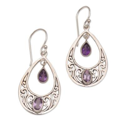 Amethyst and Sterling Silver Dangle Style Earrings