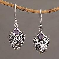 Amethyst dangle earrings, 'Rain Forest Beacon' - Handcrafted Balinese Amethyst and Sterling Silver Earrings