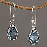 Blue topaz dangle earrings, 'Dewdrops at Dawn' - Fair Trade Silver and Blue Topaz Earrings Crafted in Bali