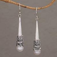 Cultured pearl dangle earrings, 'Bali Crown' - White Cultured Pearl Cone Shaped Sterling Earrings