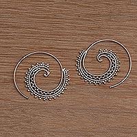 Sterling silver threader earrings, 'Bali Tendrils' - Sterling Silver Spiral Threader Earrings from Bali