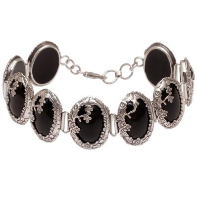 Floral Motif Sterling Silver and Onyx Link Bracelet