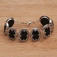 Onyx link bracelet, 'Garden Shrine' - Link Bracelet with Sterling Silver and Black Onyx