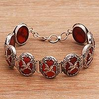 Carnelian link bracelet, 'Nature's Freedom' - Artisan Crafted Carnelian and Sterling Silver Bracelet
