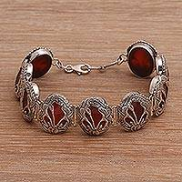 Carnelian link bracelet, 'Floral Plains' - Link Bracelet with Sterling Silver and Carnelian Gems