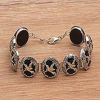 Onyx link bracelet, 'Nature's Freedom' - Bird Themed Black Onyx and Silver Link Bracelet