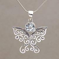 Blue topaz pendant necklace, 'Butterfly Secret'
