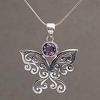 Amethyst pendant necklace, 'Butterfly Secret'