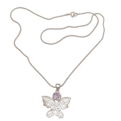 Amethyst pendant necklace, 'Butterfly Secret' - Handcrafted Amethyst and Sterling Silver Butterfly Necklace