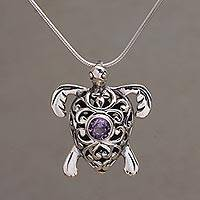 Amethyst pendant necklace, 'Tulamben Turtle' - Handcrafted Amethyst and Sterling Silver Turtle Necklace