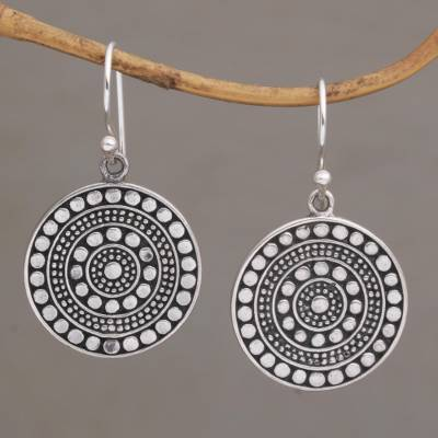 Sterling silver dangle earrings, 'Positively Dotty' - Circular Sterling Silver Earrings with Dot Motifs