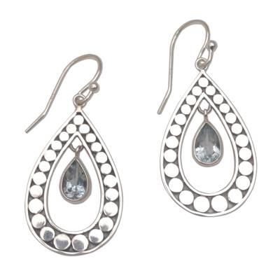 Handmade 925 Sterling Silver Blue Topaz Teardrop Earrings