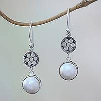 Cultured mabe pearl dangle earrings, 'Over the Moon' - Cultured Mabe Pearl and Sterling Silver Earrings