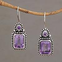 Amethyst drop earrings, 'Jawan Belle' - Amethyst Drop Earrings in Silver Granule Settings