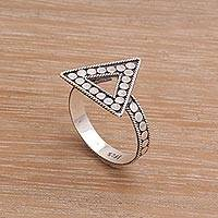 Sterling silver cocktail ring, 'Dotted Triangle' - Triangle Shaped Ring in Sterling Silver